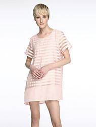 Damen Lose Kleid-Lässig/Alltäglich Übergröße Einfach Gestreift Rundhalsausschnitt Übers Knie Kurzarm Seide Polyester SommerMittlere