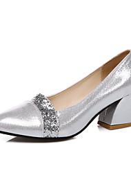 Damen-High Heels-Büro Kleid Lässig-Kunstleder-BlockabsatzSchwarz Silber Gold