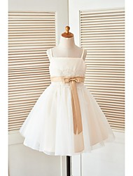 A-line Knee-length Flower Girl Dress - Satin Tulle Spaghetti Straps with Lace Sash / Ribbon
