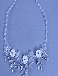 Women's Choker Necklaces Crystal Crystal Rhinestone Simulated Diamond Flower Tassels White Jewelry Wedding Party Birthday Engagement1