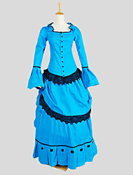 Outfits Gothic Lolita Victorian Cosplay Lolita Dress Blue Solid Long Sleeve Ankle-length Top / Skirt For Charmeuse