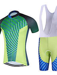 Sports QKI BRAZIL Cycling Jersey with Bib Shorts Men's Short Sleeve BikeBreathable / Quick Dry / Anatomic Design / Back Pocket /3D Coolmax Gel Pad