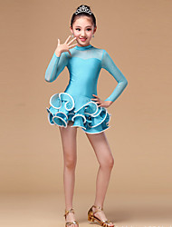Latin Dance Dresses Children's Performance Chinlon Tulle Ruffles 1 Piece Long Sleeve High Dress