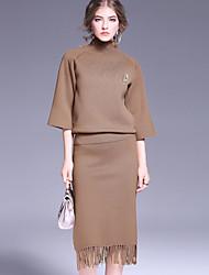 Set Jupe Costumes Femme,Couleur Pleine Décontracté / Quotidien simple Automne / Hiver Manches ¾ Col Roulé Rouge / MarronRayonne /