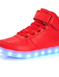 Para Meninos-Botas-Conforto Light Up Shoes-Rasteiro-Preto Vermelho Branco Prateado Dourado-Couro-Casual