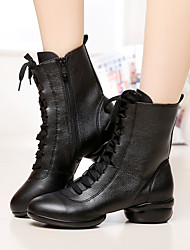 Non Customizable Women's Dance Shoes Leather Leather Modern / Dance Boots Boots Low Heel Outdoor Black / Red