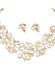 Jewelry 1 Necklace 1 Pair of Earrings Pearl Daily Pearl 1set Women Gold White Wedding Gifts