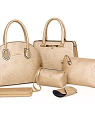 Mulher Bolsas Todas as Estações Couro Ecológico Conjuntos de saco com para Casual Branco Preto Fúcsia Dourado Azul Real
