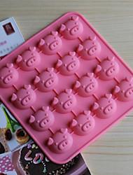 16 buracos moldes forma porco bolo de gelo geléia de chocolate, silicone 17 × 17 × 1,8 centímetros (6,7 × 6,7 × 0,8 polegadas)