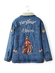 Women's Going out / Casual/Daily Simple / Street chic Jackets,Embroidered Shirt Collar Long Sleeve Fall / Winter Blue Cotton / Polyester