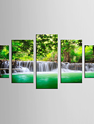 Canvas Set Landscape / Floral/Botanical Modern / Realism,Five Panels Canvas Any Shape Print Wall Decor For Home Decoration