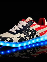 Unissex-Tênis-Conforto Light Up Shoes-Rasteiro-Azul-Courino-Casual Festas & Noite