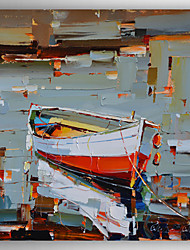 Hand-Painted Thick Oil Boat Abstract Landscape by Knife  Canvas Oil Painting With Stretcher For Home Decoration Ready to Hang