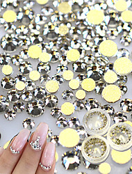 500pcs Gold Flat Back  Rhinestones Crystal 3D Nail Crystal DIY Shiny Diamond Sequin Nail Sparkly Tool