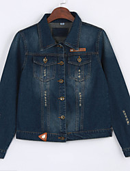 Women's Casual/Daily Simple Spring / Fall Denim Jackets,Solid Shirt Collar Long Sleeve Blue Cotton Medium