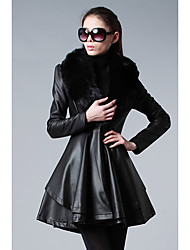 Women's Casual/Daily Simple Fur Coat,Solid Round Neck Long Sleeve Winter Black Fox Fur Medium
