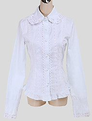 Blouse/Shirt Sweet Lolita Vintage Inspired Cosplay Lolita Dress White Solid Long Sleeve Lolita Top For Cotton