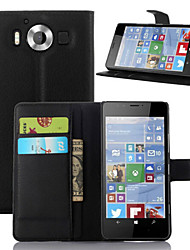 For Nokia Case Wallet / Card Holder / with Stand Case Full Body Case Solid Color Hard PU Leather NokiaNokia Lumia 950 / Nokia Lumia 930 /