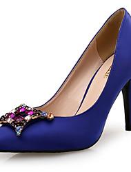 Damen-High Heels-Hochzeit / Kleid / Party & Festivität-Seide-Stöckelabsatz-Neuheit-Blau
