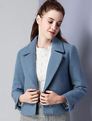 Feminino Jaqueta Casual Simples Inverno, Sólido Azul Lã Poliéster Elastano Lapela Chanfrada-Manga Longa