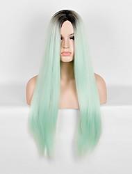 gradiente de estrela da moda europeus e americanos longos cabelos cabelo longo preto e verde mate peruca de seda de alta temperatura linha