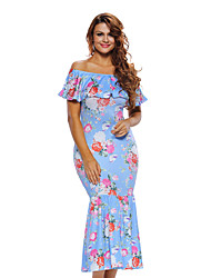Women's Floral Off Shoulder Blue Floral Mermaid Dress