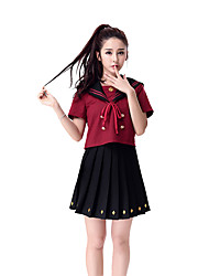 Cosplay Costumes Career Costumes Student/School Uniform Festival/Holiday Halloween Costumes Red Black Solid Top Skirt Halloween Carnival