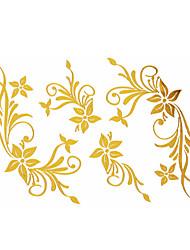 Tatuajes Adhesivos - Modelo - Series de Flor - Mujer/Girl/Adulto/Juventud - Dorado - Papel - #(1) - #(15x9)