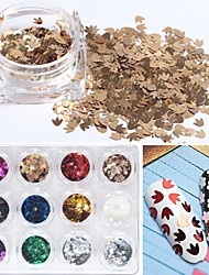 12pcs/set  Metallic Maple Leaf Claw Sequin Small Size