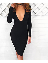 Women's Club Sexy Bodycon Dress,Solid V Neck Midi Long Sleeve Black Polyester Spring Low Rise Micro-elastic Thin