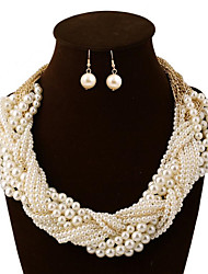 Jewelry 1 Necklace 1 Pair of Earrings Pearl Daily Pearl 1set Women Gold Wedding Gifts