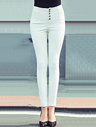 Women's Bodycon Thin Leather Velvet Skinny Chinos PantsGoing out Street chic Solid High Rise Button PU Stretchy Winter