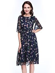 Balançoire Robe Femme Vacances Grandes Tailles Sexy,Fleur Col Arrondi Mi-long ½ Manches Bleu Soie Toutes les Saisons Taille NormaleNon