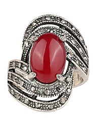 Vintage Female Crystal Ring Silver Plated Retro Geometric Metal Finger Ring For Women Fashion Jewelry A-131