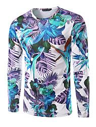 Herren Geometrisch Aktiv Lässig/Alltäglich T-shirt,Rundhalsausschnitt Herbst Langarm Mehrfarbig Polyester Mittel