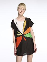 Tee-shirt Aux femmes,Géométrique Sortie Chic de Rue Eté Manches Courtes Col Arrondi Noir Rayonne Fin