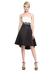 LAN TING BRIDE Asymmetrical Strapless Bridesmaid Dress - Color Block Sleeveless Satin