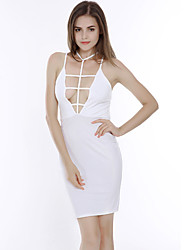 Women's Going out Sexy Bodycon Dress,Solid V Neck Midi Sleeveless White Black Polyester Summer Low Rise Micro-elastic Thin