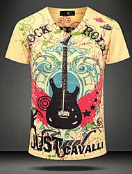 Herren Druck Boho Klub Strand Party/Cocktail T-shirt,V-Ausschnitt Kurzarm Gelb Baumwolle