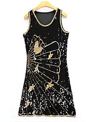 Moulante Robe Femme Décontracté / Quotidien Vintage,Fleur Col Arrondi Mini Sans Manches Or Argent Fibre de bambou Automne Taille Haute