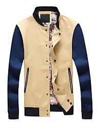 Men's Korean Casual Slim Digital Printed JacketsLetter Standing Collar Long Sleeve Fall Blue Beige Black Cotton Polyester Thin Medium