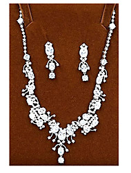 Jewelry Set Crystal Zircon Cubic Zirconia Bridal Silver Party 1set Necklaces Earrings Wedding Gifts