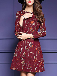 Women's Formal Sexy Sheath Dress,Floral Round Neck Above Knee Long Sleeve Red Cotton Fall Mid Rise Micro-elastic Medium