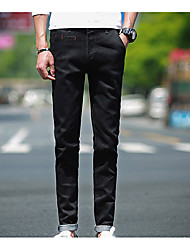 Men's Skinny Jeans Pants,Casual/Daily Simple Solid Mid Rise Zipper Cotton Micro-elastic All Seasons
