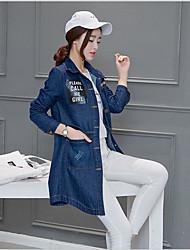 Women's Casual/Daily Cute Denim Jackets,Geometric Shirt Collar Long Sleeve Spring Blue Cotton Medium