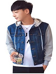 Men's Casual/Daily Simple Denim Jackets,Patchwork Hooded Long Sleeve Spring / Fall Blue Others Medium