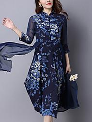 Feminino balanço Vestido, Casual Vintage / Moda de Rua Estampado / Retalhos Colarinho Chinês Médio Manga ¾ Azul Algodão / LinhoPrimavera