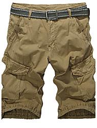 Men's Plus Size Straight Slim Sweatpants Shorts Pants,Casual/Daily Sports Street chic Active Solid Low Rise Zipper Button Cotton