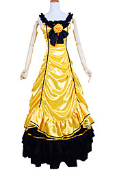 Outfits Gothic Lolita Victorian Cosplay Lolita Dress Yellow Solid Sleeveless Ankle-length Tuxedo For Women Charmeuse
