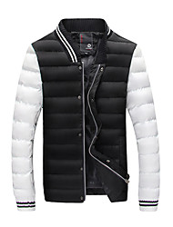 Men's Regular Down Coat,Simple Going out Color Block-Polyester Polyester Long Sleeve V Neck Black Brown